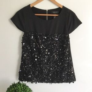 MM COUTURE Black Sequin Top